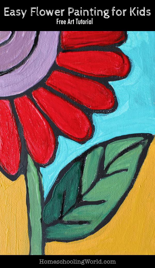 Free Art Tutorial Easy Flower Painting For Kids