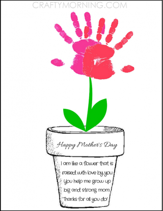 image about Flower Pot Printable called Printable Poem Flower Pot for Moms Working day - Young children Crafts